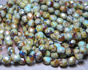 Czech Green Turquoise Picasso Faceted Round Glass Beads 6mm (25) 034