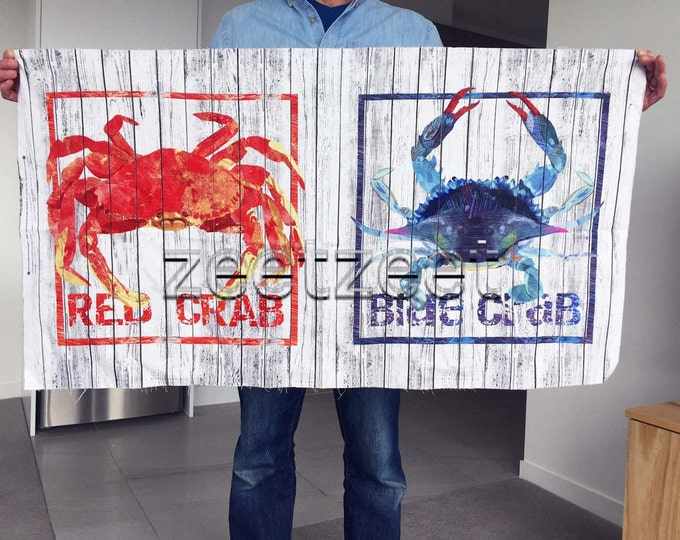 """CRAB SHACK PANEL Red White Blue Quilt Fabric - by the 24"""" Panel w Red and Blue Crabs Cotton Pillow Cushion Fabric Napkins Tablecloth Linens"""