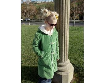 Green Hooded Girls Trench Coat, Corduroy, Cotton, Children's Coat, Child, Girl, Jacket, Coat, Fashion