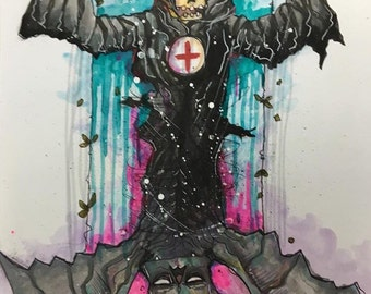 Im batty either way Original watercolor drawing