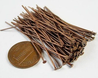 100 pcs Antique Red Copper Plated Head pin,  Flat Head Pins, 50mm,  21 gauge  HP7509
