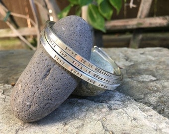 Personalized Sterling Silver Mantra Cuff