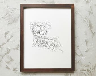 Louisiana> Magnolia> State Flower Drawing> Giclee Print