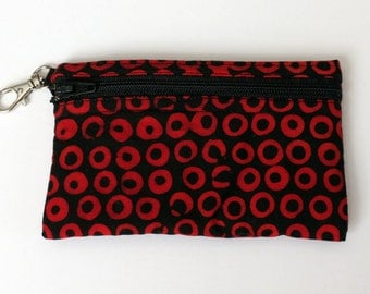 Red & Black circles - Clip Coin Purse with Zipper Front