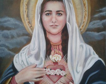 """Immaculate Heart of Mary 16"""" X  20"""" Oringinal Arcylic Painting OOAK Painting of the Mother of God, Mother of Our Savior Catholic Art, signed"""
