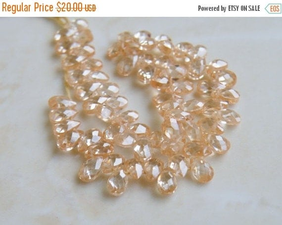 Final 51% off Sale Cubic Zirconia CZ Faceted Pear Briolette Champagne 5mm 30 beads 1/2 Strand