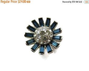 SALE Costume Jewelry - Rhinestone Flower Ring, Statement, Sapphire Blue Rhinestone, Silver Tone, Adjustable