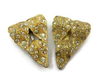 Art Deco Dress Clip Set - Gold Tone Leaves Pair Clear Paste Rhinestone Bridal