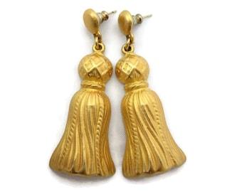 Mish Costume Jewelry Tassel Earrings - Gold Tone, Pierced, Designer