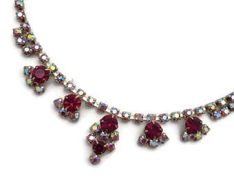 Pink and Red Rhinestone Necklace - Vintage, Aurora Borealis Stones, Costume Jewelry