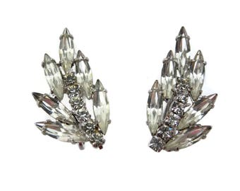 Clear Rhinestone Earrings - Leaf Leaves Bridal Wedding Costume Jewelry Clips Vintage Earrings for Women