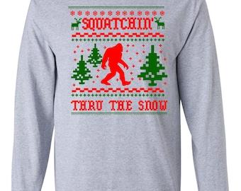 Ugly Bigfoot Sasquatch Christmas T-shirt Sweater