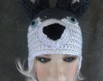 Crochet,Husky dog, Hat, Grey,White,Crochet animal,Accessory,Women,Winter Hats,Large,Earflap hat,