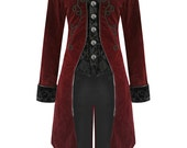 Custom Made red mage Final Fantasy inspired jacket morning coat Frock Coat