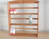 Vintage Wood Herb and Spice Rack