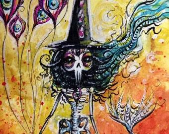 Skeletal MerWitch original painting