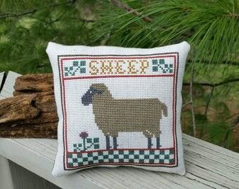 Cross Stitch SHEEP Pillow Prairie Schooler Handmade Home Decor
