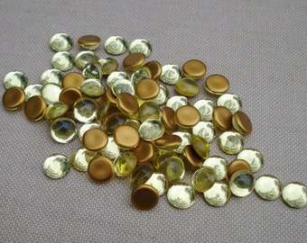 12 Vintage 9mm Jonquil Czech Preciosa Gold Foiled Flat Back Round Glass Cabs
