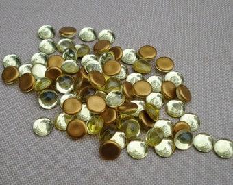 Vintage 9mm Jonquil Czech Preciosa Gold Foiled Flat Back Round Glass Cabs 8pcs