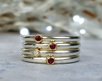 Ruby and diamond stacking rings, sterling silver and gemstone stacking set, thin silver rings with faceted ruby and diamond, July birthstone