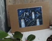 Small Offerings of Light. Greeting Card with Envelope. Owls-Birds-Night-Handmade- By Karen Davis