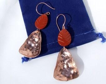 Copper Earrings, Jasper earrings, tribal design, hammered copper, primitive, organic jewelry, leaf pattern