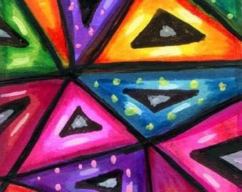 ABSTRACT TRIANGLES dots aceo ATC Art original painting geometric outsider art mini art
