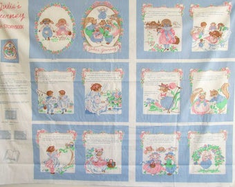 Julie's Journey Cloth Storybook Fabric Panel, Craft Kit, Young Girl, Animal Friends, 1991 Vintage, Baby Book, Panels to Frame, Nursery