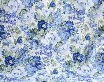 Vintage Cotton Fabric, 2 Yardsof Vintage 1980's Lightweight Decor Fabric, Blue and White Floral Pattern, Cabbage Rose Design, Garden Flower
