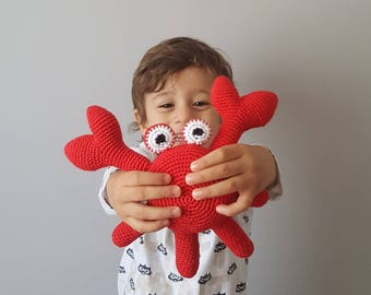 Sleeping friend,Crab plush toy, amigurumi crab, crocheted crab toy,nautical toy, birthday gift for toddlers, babyshower, crab theme party