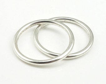 """25mm Solid Seamless Rings Antique Silver Circle Pendant Silver Charm Small Open Frame Hoop Nunn Design for Modern Simple Silver Jewelry 1"""""""