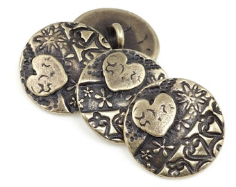 Bohemian Heart Button Clasp Findings TierraCast AMOR ROUND Button Findings for Leather Jewelry Bracelet Clasp Bronze Buttons Brass (P1340)