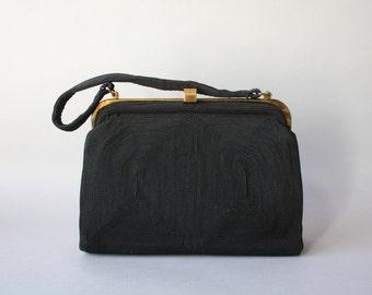 1940s Bag / Vintage 1940s Black Cordé Bag / 40s Fabric Purse