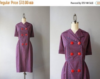 STOREWIDE SALE Vintage 50s Dress / 1950s Holly Hoelscher Dress / 1950s Double Breasted Cotton Plaid Day Dress Large 30 waist