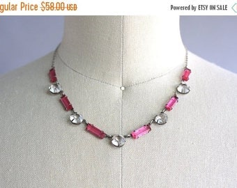STOREWIDE SALE 1920s Necklace / Vintage 20s Open Back Crystal Necklace / Pink and White Silver Crystal Necklace