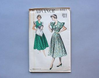 1950s Sewing Pattern / Vintage 50s Dress Pattern / 1950 Advance Uncut Factory Fold Dress Pattern with Full Skirt size 20 32 waist 5551