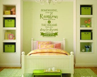 Over The Rainbow Wall Decal Quote - Vinyl Text Sticker Art
