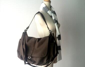 Canvas Messenger Bag Cappuccino, Water Resistant Diaper bag , Cross body Bag, Mom Travel bag , Tote Bag ( BAG SALE - 25% / Daniel )