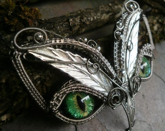 SOLD Gothic Steampunk Green Eye Baby Owl