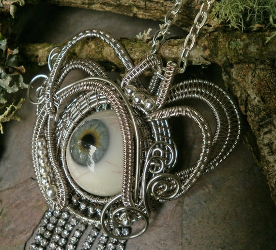 Gothic Steampunk Blue Prosthetic Eye Pendant with Rhinestones
