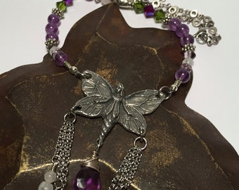 Fairy Necklace with Pewter Crystal Gemstone Beads