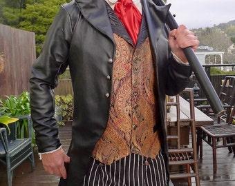 Black Faux Leather Steampunk Frock Cutaway Swallowtail Wedding Jacket