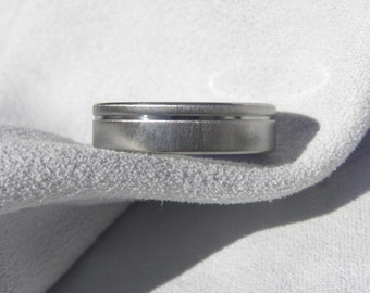 Titanium Ring, Wedding Band, Offset Pinstripe Groove, Frosted Finish