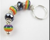 European Style Rainbow Keychain Car Accessories Murano Lampwork Glass Beads Gay Pride Key Chain