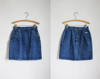 1980s high waisted blue denim mini skirt - xs/s - x-small - small - 25w