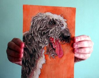 Irish Wolfhound, Original, Watercolor & Ink Painting. 5x7, Archival Stonehenge Paper, Realistic Dog Portrait
