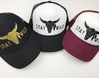 Best Seller! Stay Wild Trucker Hat, Stay Wild, Deer, Stag, Adjustable Snapback Hat, Black Hat, Black and White Hat, Gold, Burgundy, Green.