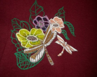 Girls Maroon Tshirt with Dragonflies and Flower Blossoms Silver Gold Green Peach Blue Pink Unique Gift Idea Size Large Friend Birthday Gift