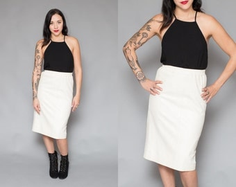 White Leather Skirt // High Waist Pencil Skirt // 80s Midi Moto Biker Leather Skirt - Size S