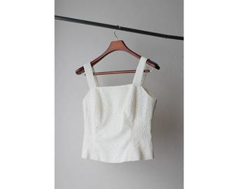 1990s Ivory Embroidered Cropped Camisole